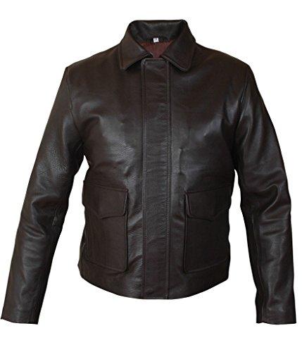 F&H Men's Indiana Jones Harrison Ford Genuine Leather Jacket 2XL Brown