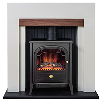 Adam Salzburg Stove Suite in Cream with Dimplex Club Electric Stove in Black, 39 Inch