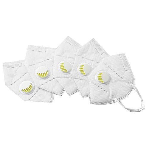 Vococal-Anti-Verschmutzungsmaske, Unisex, Vliesstoff, Einweg-Maske, 4 Schichten, PM2.5, Anti-Haze Maske, Anti-Staub-Maske, Aktivkohlefilter, Gesichtsmasken mit Atemventil, Ohrschlaufen-Atemschutz weiß -