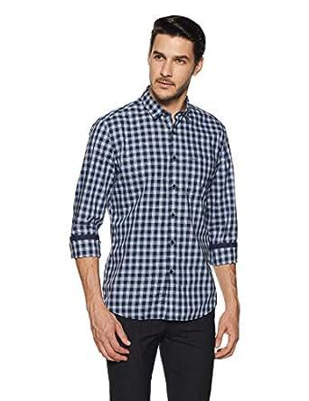 Indigo Nation Men's Checkered Slim Fit Formal Shirt (50012326155001_Blue_38)