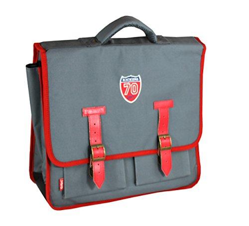 Kickers Cartable 15 L, Gris Profond/Rouge