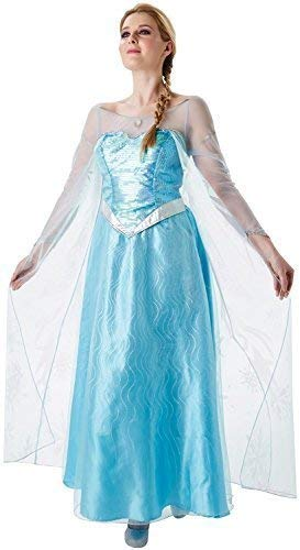 (Damen Blau ELSA Eiskönigin Disney Prinzessin Film Kostüm Kleid Outfit UK 8-18 - Blau, UK 16-18)