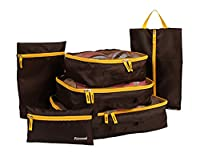 Smile YKK 6Pcs Waterproof Travel Storage Bags Clothes Luggage Organizer Coffee