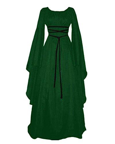 GladiolusA Damen Halloween Kostüm Kleid Mit Kapuze Lose Langarm Lang Maxi Kleid Mittelalter Kostüm Grün ()