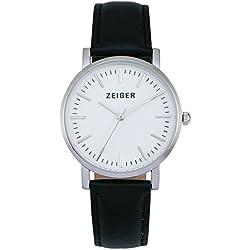 Zeiger Unisex Geschenkset Damen Quarz-Armbanduhr–Luxuriöses Zifferblatt und Zeiger–Uhrbänder schwarzes Leder / Canvas