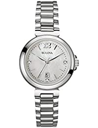 Bulova Diamond Women's Quartz Watch with Mother of Pearl Dial Analogue Display and Silver Stainless Steel Bracelet 96P149