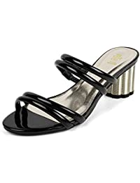 tresmode Womens Glossy Block Heel Slip on Sandals
