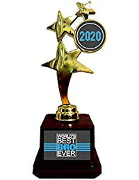 Yaya Cafe Birthday Gift for Brother, Worlds Best Bro Ever Trophy Award - Star Golden