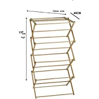 HOMION Bamboo Wooden Traditional Wooden Folding Clothes Airer Concertina Design Foldable Free Standing