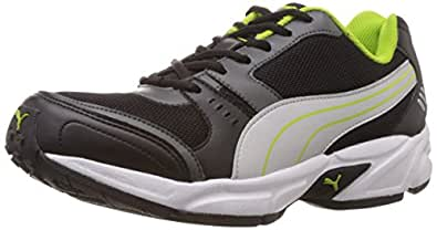Puma Men's Argus DP Black, Dark shadow, Puma silver and Lime punch Mesh Running Shoes - 10UK/India (44.5EU)