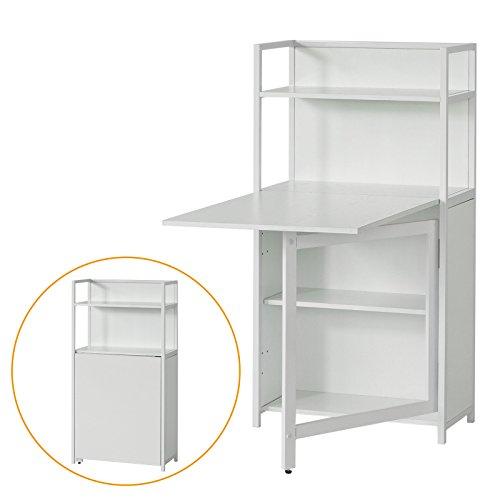 SoBuy® Wandschrank, Wandklapptisch, Standregal, Bücherschrank mit klappbarem Schreibtisch, Computertisch, Schreibtisch, FWT12-W