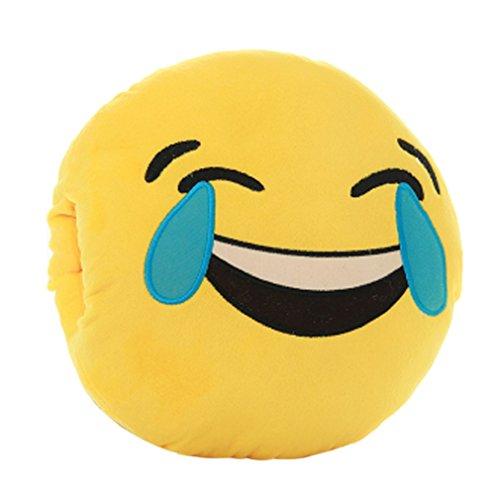Tonsee Gelbe Runde weiche Emoji Smiley Emoticon gefüllte Plüsch Spielzeug Puppe Händen wärmer Kissen Eingreifen Kissen, Lachen, Weinen
