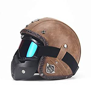 FidgetKute Unisex PU Leather Helmets 3/4 Motorcycle Chopper Bike Helmet Open Face Vintage Motorcycle Helmet with Goggle Mask Light Brown XXL