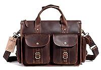 EverVanz Mens Handmade Vintage Genuine Leather Briefcase Bag 15 Inch Laptop Messenger Bag Shoulder Bag Handbag