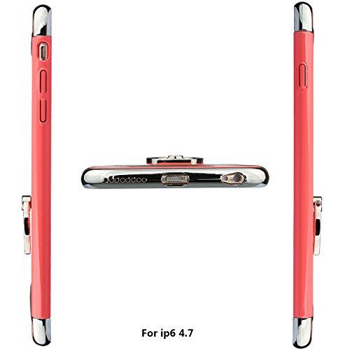 """xhorizon MLK 3 en 1 Coque pour iPhone 6 6S [4.7""""]ultra-fin élégant Coque de Protection dur avec bague béquille 360 degré rotation avec 9H film de protection en verre trempé pastèque rouge"""