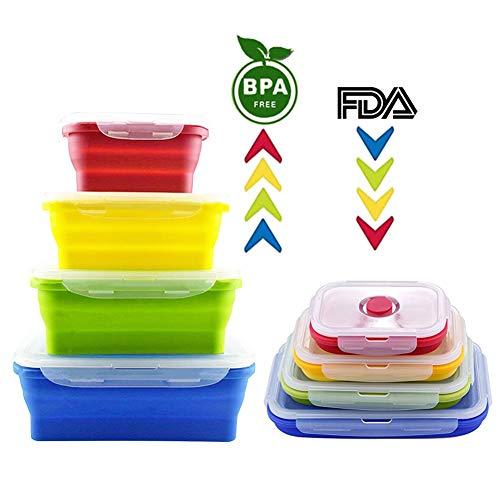 Sycle circle 4Pack Silikon Faltbare Frischhaltedosen BPA-frei Set Klappstuhl Lunch Bento Box stapelbar Küche Organizer Ofen mikrowellengeeignet