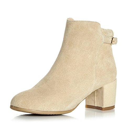 Botín de piel/Martin botas/ zapato cabeza redondeado/Vintage botín/ botas de mujer sencilla-A Longitud del pie=23.3CM(9.2Inch)