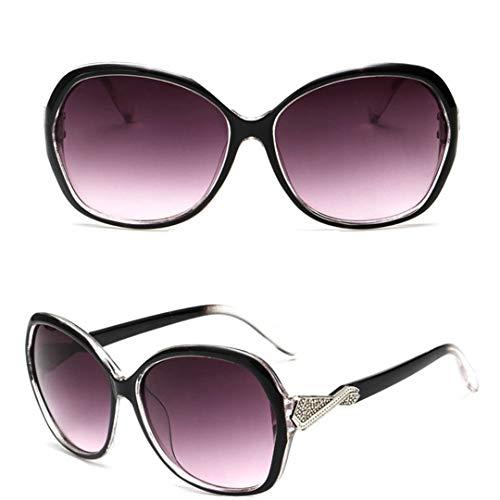 DAIYSNAFDN Großer Rahmen Vintage Sonnenbrille Frauen Brille Lady Retro Metal Sun Glasses Double Gray