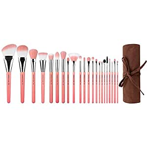 Bdellium Tools Professional Makeup Pink Bambu Series Deluxe 22pc. Brush Set with Roll-up Pouch