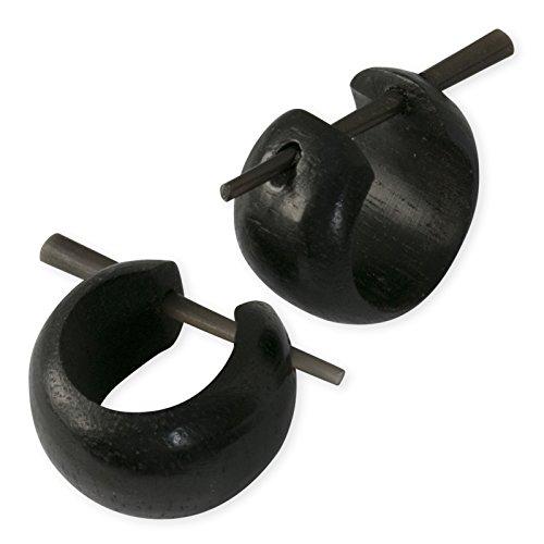 Fly Style Damen Holz-Ohrringe Creolen schlicht klein verschiedene Modelle schwarz braun er036, Modell:Modell D
