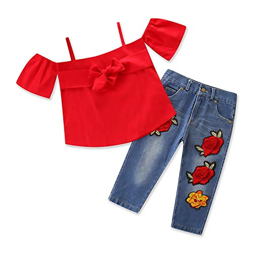 Kid Suit Red Sling Kurzarm Bogen Jeans Zweiteiler Kinder Baby Mädchen Kleidung Top Set Hosen Neugeborenen Set Mode (Red Right Hand Kostüm)