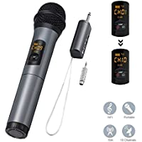 ELEGIANT Wireless Microphone, UHF Handheld Dynamic Microphone Wireless Mic System Karaoke FM Receiver 10 Channels Professional Device for Karaoke Singing Machine, Home KTV Set,Christmas Party,Meeting