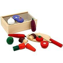 Viga - Pack de caja con verduras de juguete y tabla para cortar