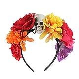 Qinlee Halloween Serre-Tête avec Rose Squelette Bandeaux de Cheveux Accessoire...