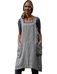 ea6221a31af1 BaZhaHei Ladies Solid Apron Dress Cotton Linen Pinafore Garden Work  Pinafore Dress for Women Sleeveless Loose