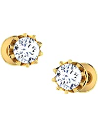 c8ec7d273 Dishis Designer Jewellery 18KT Yellow Gold and Diamond Stud Earrings for  Women