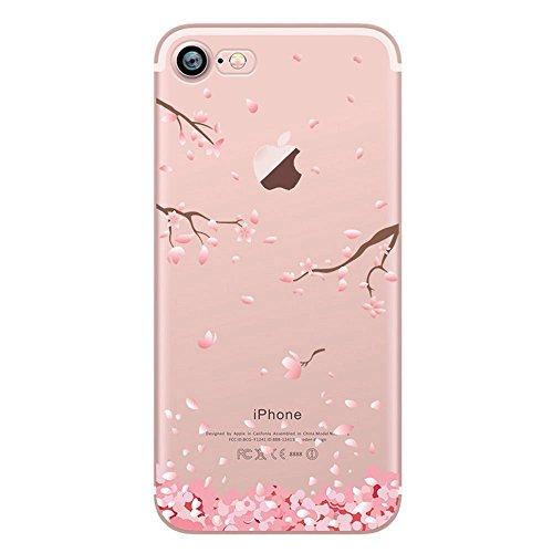 Coque iPhone 7, OFFLY Transparente Souple Silicone TPU étui d' Protection, Cute et Motif Fantaisie pour Apple iPhone 7 - Fleurs de Cerisier