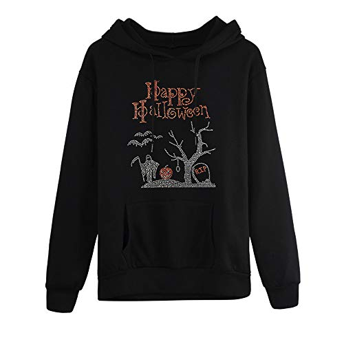 MIRRAY Damen Halloween Kapuzenpullover Übergröße Langarm Tasche mit Kapuze Neck Bluse Happy Halloween Drucken Tops S M L ()