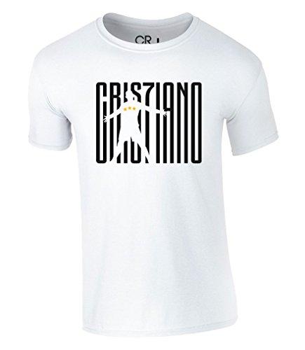 Cristiano Ronaldo T-Shirt 7 Juventus CR7 F.C. Juve Fußball Real Madrid Football Jersey Herren Trikot (S, Weiß)