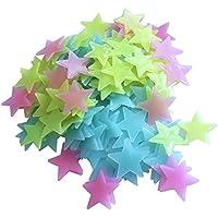 Hosaire 100 Piezas Luminoso pegatinas de pared Estrellas Luminosas Pegatina Pared Fluorescente Brilla Oscuridad PVC