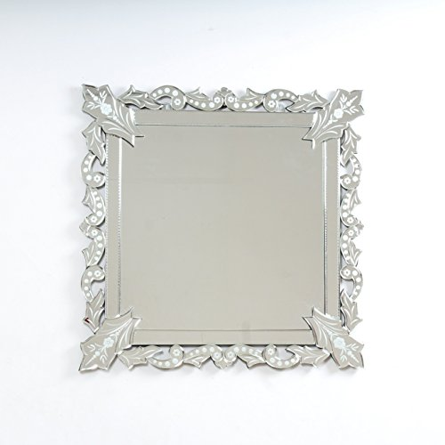 "Quality Glass Glass And MDF Venetian Wall Mirror (23""x23"", Silver And White, Square Shaped Mirror)"