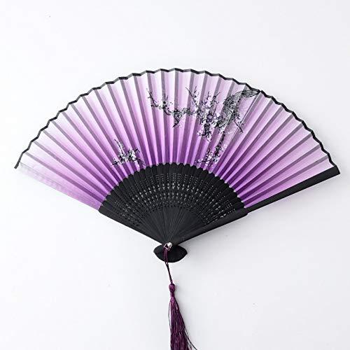 r Fan Kind Faltfächer Chinesischen Stil Im Alten Stil Retro Stil Quaste Tanz Klassischen Handgemachten Tanz Fan Handwerk Fan Lila Nudeln ()