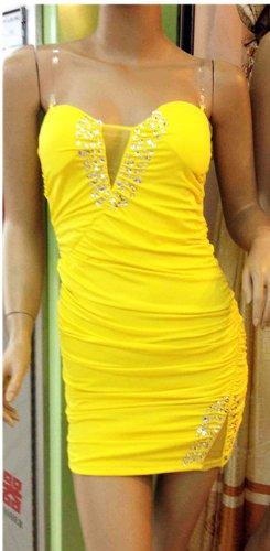 Robe Sexy QIYUN.Z De Soiree De Partie Sans Manche De Tunique De La Gaine Moulante Wiggle yellow