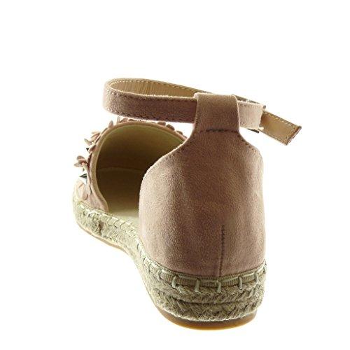 Angkorly Scarpe Moda Sandali Espadrillas con Cinturino Alla Caviglia Donna Fiori Borchiati Corda Tacco a Blocco 3 cm Rosa chiaro