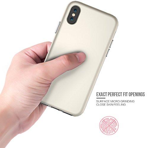 iPhone X Coque, Voguecase TPU + PC 2-EN-1 avec Absorption de Choc, Etui Silicone Souple, Légère / Ajustement Parfait Coque Shell Housse Cover pour Apple iPhone X (Gris)+ Gratuit stylet l'écran aléatoi D'or