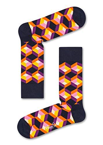 Happy Socks – Coole bunte Baumwollsocken Optical Illusion für Damen und ()