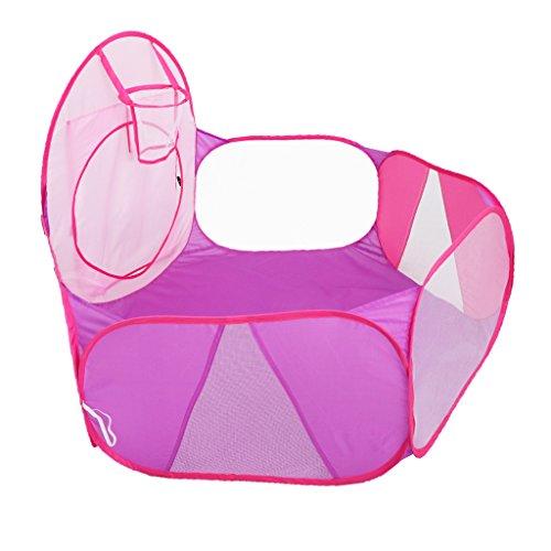 MagiDeal Tragbare Bällebad Ballpool Kugelbad Bällchenbad Bällchenpool Ohne Bällen mit Mini Basketballkorb Kinder Spielzeug - Pink + Lila
