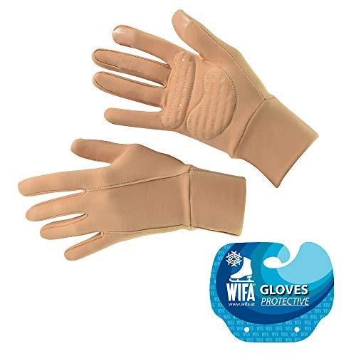 WIFA Eislauf und Sport Handschuhe gepolstert mit Gel Polsterung Touchscreen rutschfest atmungsaktiv für Kinder und Erwachsene (beige, 2)