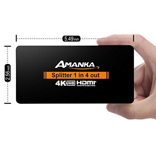 AMANKA HDMI Splitter 4 fach Verteiler HDMI 1 auf 4 Support UHD 2160P 4K HDMI 1.4 3D 1 In 4 Out,Aluminium (10 Hdmi-splitter In 1)