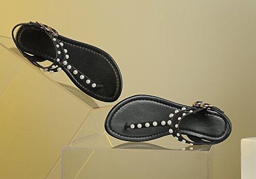 Zicac Damen Sandalen Flip Flops Perlen Sandalen mit Keilabsatz Schwarz