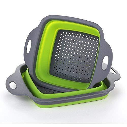 Colador plegable de la cocina plegable 2 piezas cuadradas Lavabo plegable para arriba Tazón de fuente del filtro del silicón Filtro cesta 2 tamaños (Verde)