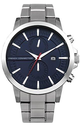 French Connection FC1270USMA Philip Caribe Reloj de cuarzo para hombre con esfera azul y correa plateada de acero inoxidable