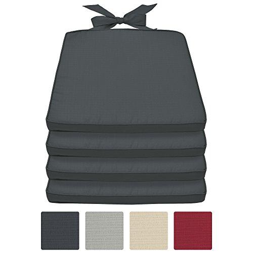beautissu set da 4 cuscini per sedie pia - sfoderabili - per mobili da giardino di rattan o legno - 45x42x40, spessore 5cm - grigio