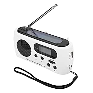 eecoo Radio Solaire d'AM/FM avec Lampe de poche Cas d'urgence avec Banque de Puissance de Lampe-torche de LED pour Camping Randonnée les Activités Extérieurs ou Bricolage à la Maison