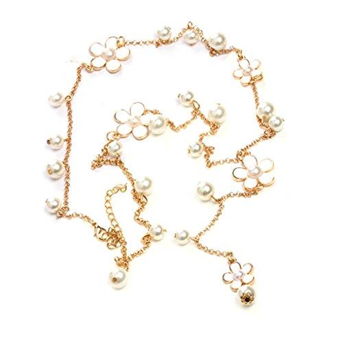 Blume Perle Frauen Pullover Halskette Kette Anhänger Dekor Legierung Lange Halskette Schmuck 68 cm Bobury