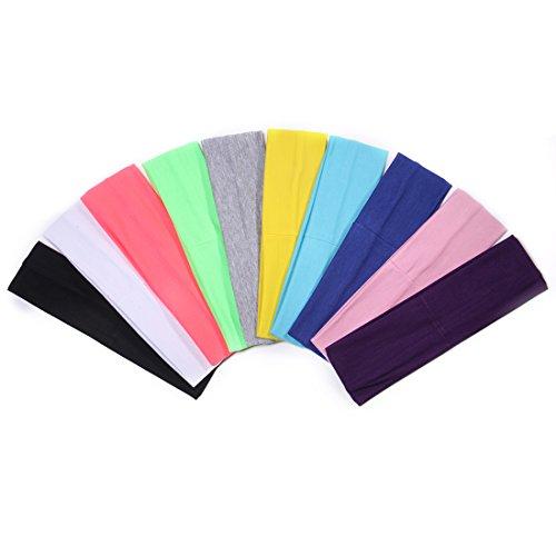 DoGeek 10 Stück Sport Stirnband Set Stirnband Yoga Atmungsakti Stirnband Sport Schweißband für Laufen, Radfahren, Yoga, Basketball - Dehnbar Feuchtigkeit Wicking Haarband